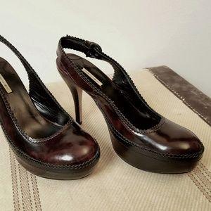 MAXSTUDIO Burgandy Brown Leather Platform Heels